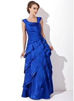 A-Line/Princess V-neck Floor-Length Charmeuse Mother of the Bride Dress With Cascading Ruffles
