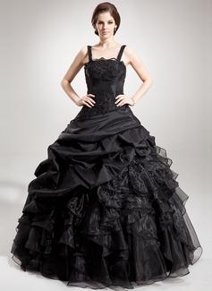 Duchesse-Linie Rechteckiger Ausschnitt Bodenlang Taft Organza Quinceañera Kleid (Kleid für die Geburtstagsfeier) mit Perlen verziert Applikationen Spitze Pailletten Gestufte Rüschen