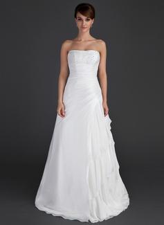 A-Line/Princess Strapless Floor-Length Taffeta Wedding Dress With Beading Cascading Ruffles