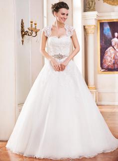 Corte de baile Escote corazón Tren de la catedral Organdí Satén Vestido de novia con Encaje Bordado