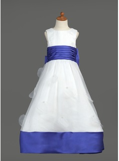 Empire Floor-length Flower Girl Dress - Organza/Satin Sleeveless Scoop Neck With Sash/Bow(s)