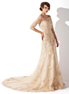 A-Line/Princess Off-the-Shoulder Chapel Train Tulle Lace Wedding Dress