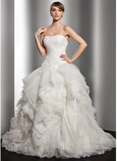 Ball-Gown Sweetheart Court Train Organza Wedding Dress With Cascading Ruffles