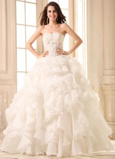 Corte de baile Escote corazón Hasta el suelo Organdí Vestido de novia con Encaje Bordado Cascada de volantes
