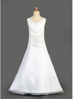 A-Line/Princess Floor-length Flower Girl Dress - Organza/Satin Sleeveless Scoop Neck With Beading/Sequins