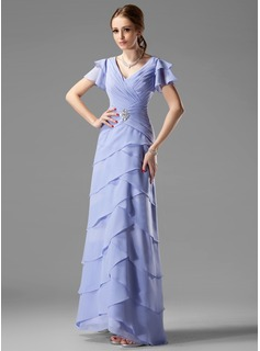 A-Line/Princess V-neck Floor-Length Chiffon Mother of the Bride Dress With Beading Cascading Ruffles
