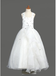 A-Line/Princess Floor-length Flower Girl Dress - Organza Sleeveless Scoop Neck With Beading