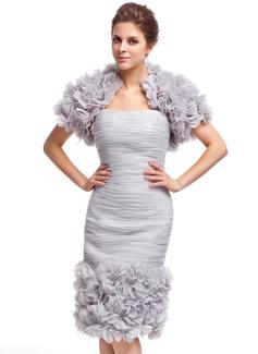 Vestido tubo Escote corazón Hasta la rodilla Organdí Baile de promoción con Volantes Flores