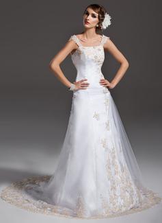 Corte A/Princesa Hombros caídos Cola corte Satén Tul Vestido de novia con Volantes Bordado Los appliques Encaje