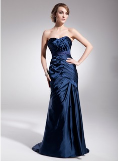 Trumpet/Mermaid Sweetheart Sweep Train Charmeuse Evening Dress With Ruffle