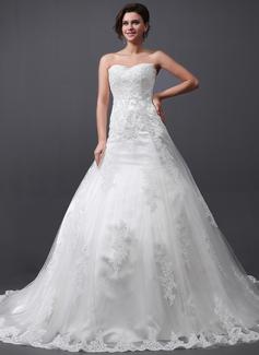 Corte A/Princesa Escote corazón Tren de la catedral Tul Vestido de novia con Los appliques Encaje