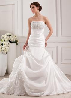 Corte trompeta/sirena Estrapless Tren de la catedral Tafetán Encaje Vestido de novia con Bordado