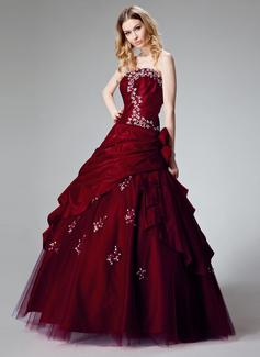 Duchesse-Linie Trägerlos Bodenlang Taft Quinceañera Kleid (Kleid für die Geburtstagsfeier) mit Rüschen Perlen verziert Applikationen Spitze Blumen Pailletten