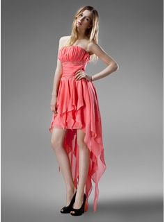 A-Line/Princess Strapless Asymmetrical Chiffon Homecoming Dress With Beading Cascading Ruffles