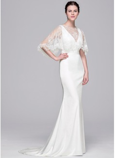 Sheath/Column V-neck Sweep Train Satin Wedding Dress