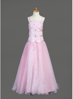 A-Line/Princess Floor-length Flower Girl Dress - Organza/Satin Sleeveless With Ruffles/Beading