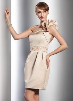 Sheath/Column One-Shoulder Short/Mini Satin Wedding Dress With Beading Cascading Ruffles