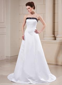 A-linjeformat Axelbandslös Court släp Satäng Bröllopsklänning med Skärpband Pärlbrodering