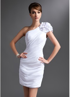 Sheath/Column One-Shoulder Short/Mini Chiffon Mother of the Bride Dress With Ruffle Flower(s)