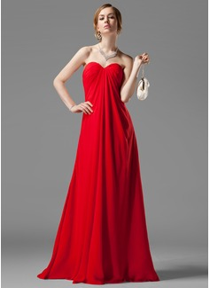Empire Sweetheart Floor-Length Chiffon Bridesmaid Dress With Ruffle Beading