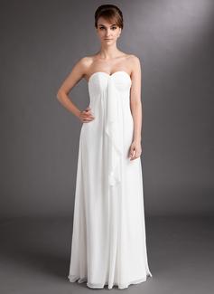 Empire Sweetheart Floor-Length Chiffon Wedding Dress With Cascading Ruffles