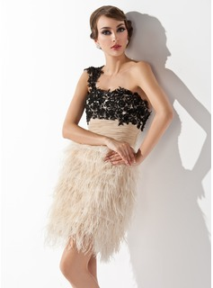 Sheath/Column One-Shoulder Short/Mini Feather Cocktail Dress With Ruffle Beading Sequins