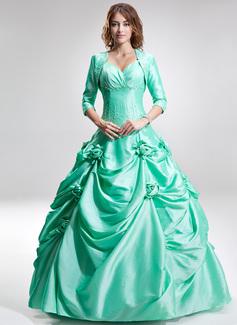 Ball-Gown Sweetheart Floor-Length Taffeta Quinceanera Dress With Ruffle Beading Flower(s)