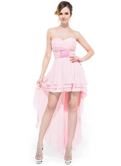 Corte A/Princesa Escote corazón Asimétrico Chifón Vestido de baile de promoción con Volantes Lentejuelas