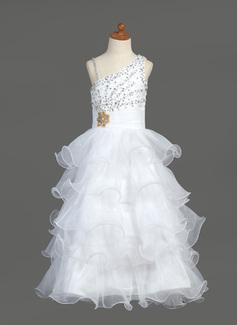 A-Line/Princess Floor-length Flower Girl Dress - Organza/Satin Sleeveless V-neck With Ruffles/Beading/Sequins