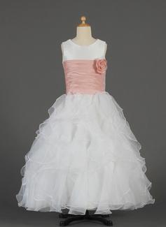 A-Line/Princess Floor-length Flower Girl Dress - Taffeta/Organza Sleeveless Scoop Neck With Ruffles/Sash/Flower(s)