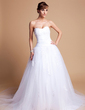Ball-Gown Sweetheart Chapel Train Tulle Charmeuse Wedding Dress With Lace (002012136)