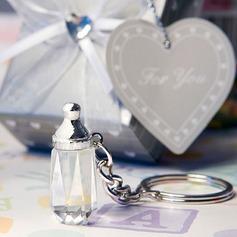 Klassische Schicke Kristall Flasche Rostfreier Stahl Schlüsselanhänger