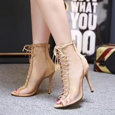 Women's Leatherette Lace Stiletto Heel Boots Peep Toe Ankle Boots With Lace-up shoes