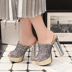 Women's Sparkling Glitter Chunky Heel Sandals Pumps Platform Peep Toe Slingbacks With Sparkling Glitter Jewelry Heel shoes