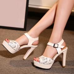 Women's Leatherette Chunky Heel Sandals Pumps Platform Peep Toe Slingbacks With Buckle Others shoes