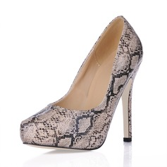 Leatherette Stiletto Heel Pumps Platform Closed Toe With Animal Print shoes