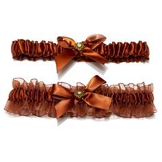 2-Teilig Elegante Satiniert Organzas mit Perlen Hochzeit Strumpfbänder