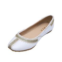Leatherette Flat Heel Flats Closed Toe With Rhinestone shoes