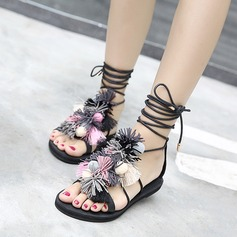 Women's Leatherette Flat Heel Sandals Peep Toe With Lace-up Tassel Flower shoes