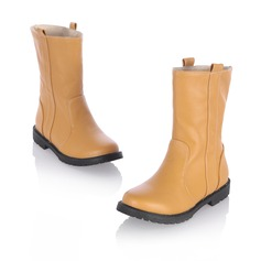 Women's Leatherette Flat Heel Flats Closed Toe Mid-Calf Boots shoes