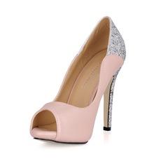 Women's Leatherette Sparkling Glitter Stiletto Heel Peep Toe Platform Sandals With Sequin