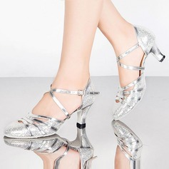 Women's Sparkling Glitter Sandals Pumps Ballroom With Buckle Hollow-out Dance Shoes
