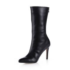 Kvinnor Konstläder Stilettklack Halva Vaden Stövlar skor