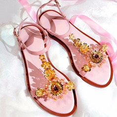 Women's Real Leather Flat Heel Peep Toe Sandals Beach Wedding Shoes With Rhinestone