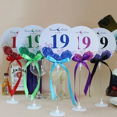 Personalized Lovely Rose Paper Table Number Cards With Holder With Ribbons (Set of 10)