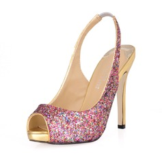 Women's Sparkling Glitter Stiletto Heel Peep Toe Sandals Slingbacks With Sequin