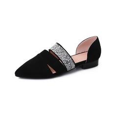 De mujer Cuero Tacón plano Planos Cerrados con Rhinestone zapatos