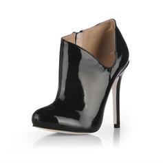 Lackskinn Stilettklack Pumps Stängt Toe Boots skor