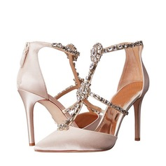 Women's Satin Stiletto Heel Peep Toe Sandals Beach Wedding Shoes With Rhinestone