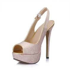 Leatherette Sparkling Glitter Stiletto Heel Sandals Platform Peep Toe Slingbacks With Buckle shoes